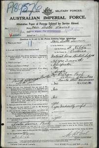 PAUL Lester Laurie : Service Number - 27896 : Place of Birth - St Kilda VIC : Place of Enlistment - Melbourne VIC : Next of Kin - (Brother) PAUL William