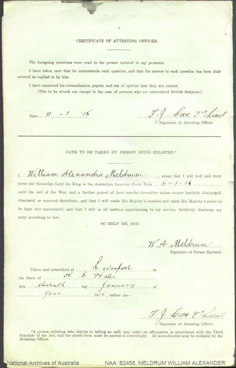 MELDRUM William Alexander : Service Number - 1778 : Place of Birth - Albury NSW : Place of Enlistment - Liverpool NSW : Next of Kin - (Sister) WEBB E