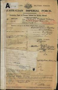 PEASLEY Frederick William : Service Number - 6812 : Place of Birth - Bathurst NSW : Place of Enlistment - Dubbo NSW : Next of Kin - (Mother) PEASLEY Racheal
