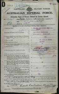 PHIPPS Russell Constantine Charles : Service Number - 26278 : Place of Birth - Beaudesert QLD : Place of Enlistment - Brisbane QLD : Next of Kin - (Mother) PHIPPS Lady Henry Norma Cicely