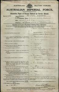 PHIPPS Vivian Lious Augustus : Service Number - 14358 : Place of Birth - Brisbane QLD : Place of Enlistment - Seymour VIC : Next of Kin - (Mother) PHIPPS Lady Henry