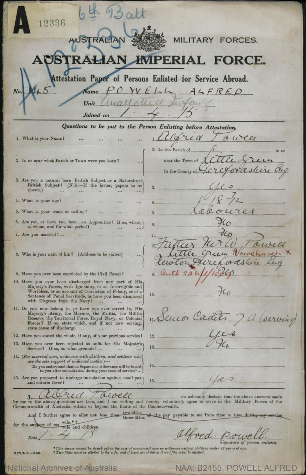 POWELL Alfred : Service Number - 145 : Place of Birth - Little Green England : Place of Enlistment - Brisbane QLD : Next of Kin - (Father) POWELL W
