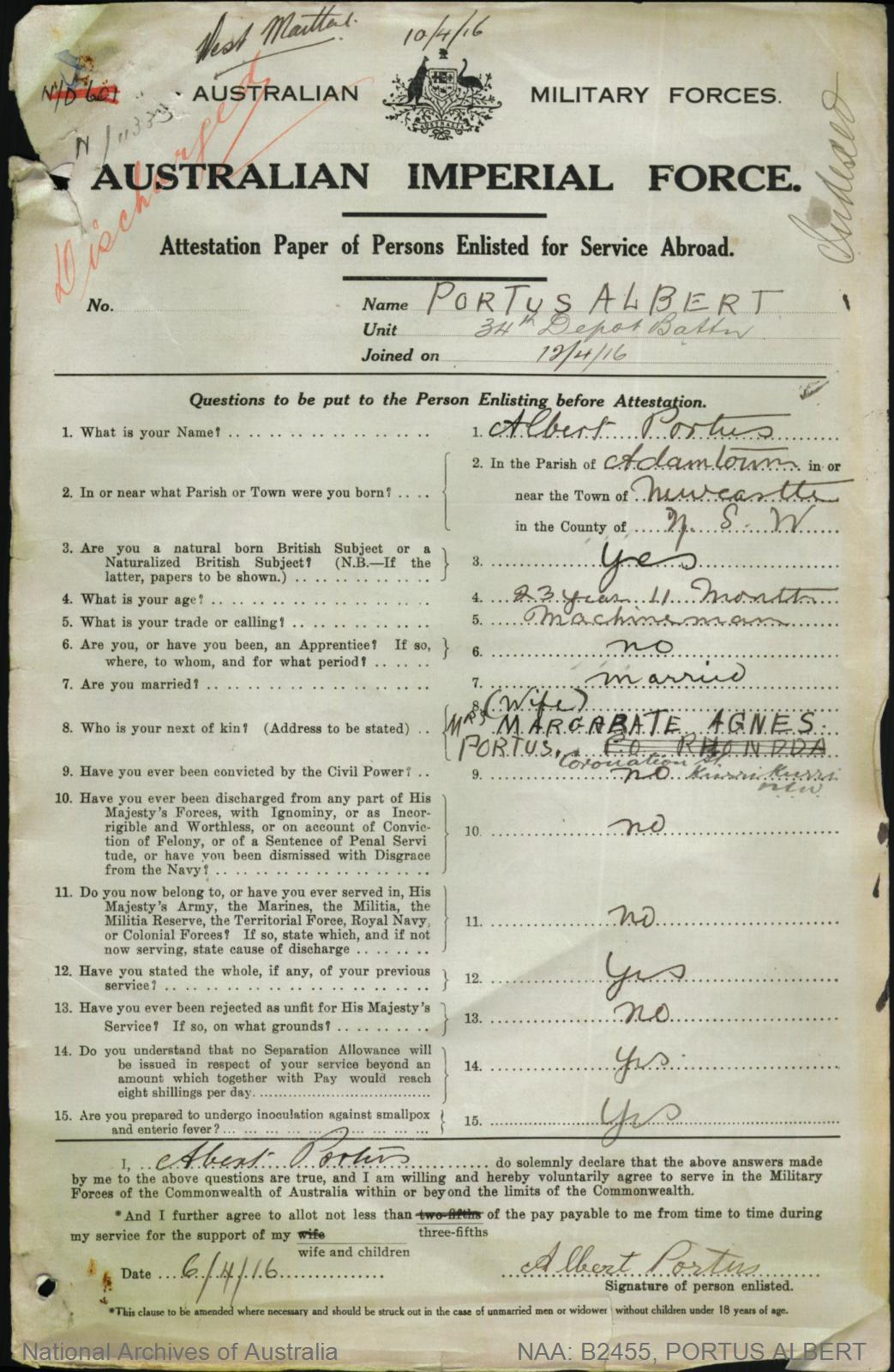 PORTUS Albert : Service Number - Depot : Place of Birth - Newcastle NSW : Place of Enlistment - Teralba NSW : Next of Kin - (Wife) PORTUS Margarate Agnes