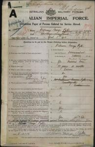 PYKE William George : Service Number - 1565 4869 : Place of Birth - Warrnambool VIC : Place of Enlistment - Linton VIC : Next of Kin - (Wife) PYKE Katherine