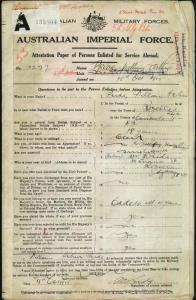 PRIDE William Arthur : Service Number - 3277 : Place of Birth - Sydney NSW : Place of Enlistment - Sydney NSW : Next of Kin - (Mother) PRIDE Annie