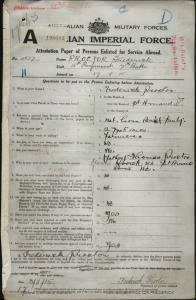 PROCTOR Frederick : Service Number - 4877 : Place of Birth - St Arnaud VIC : Place of Enlistment - Melbourne VIC : Next of Kin - (Father) PROCTOR Thomas
