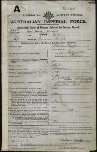 QUIGG William : Service Number - 4790 : Place of Birth - Ballycastle Ireland : Place of Enlistment - Cairns QLD : Next of Kin - (Sister) MCCONAGHIE Ellen