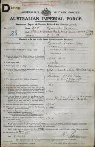 RAY Kenneth Gavan : Service Number - 4932 167 : Place of Birth - Hobart TAS : Place of Enlistment - Claremont TAS : Next of Kin - (Father) RAY F C