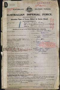 RANKIN Leo Vincent : Service Number - 1718 : Place of Birth - Melbourne VIC : Place of Enlistment - Yass NSW : Next of Kin - (Mother) RANKIN M