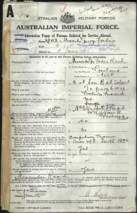 READ Alexander : Service Number - 2745 : Place of Birth - Geelong VIC : Place of Enlistment - Geelong VIC : Next of Kin - (Mother) READ Elizabeth Jessie