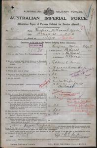 RENFREE William Edgar : Service Number - 82 : Place of Birth - Ballarat VIC : Place of Enlistment - Melbourne VIC : Next of Kin - (Sister) BRAY A