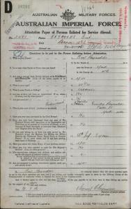 REYNOLDS Bert : Service Number - 2481 : Place of Birth - York WA : Place of Enlistment - Perth WA : Next of Kin - (Mother) REYNOLDS Emily