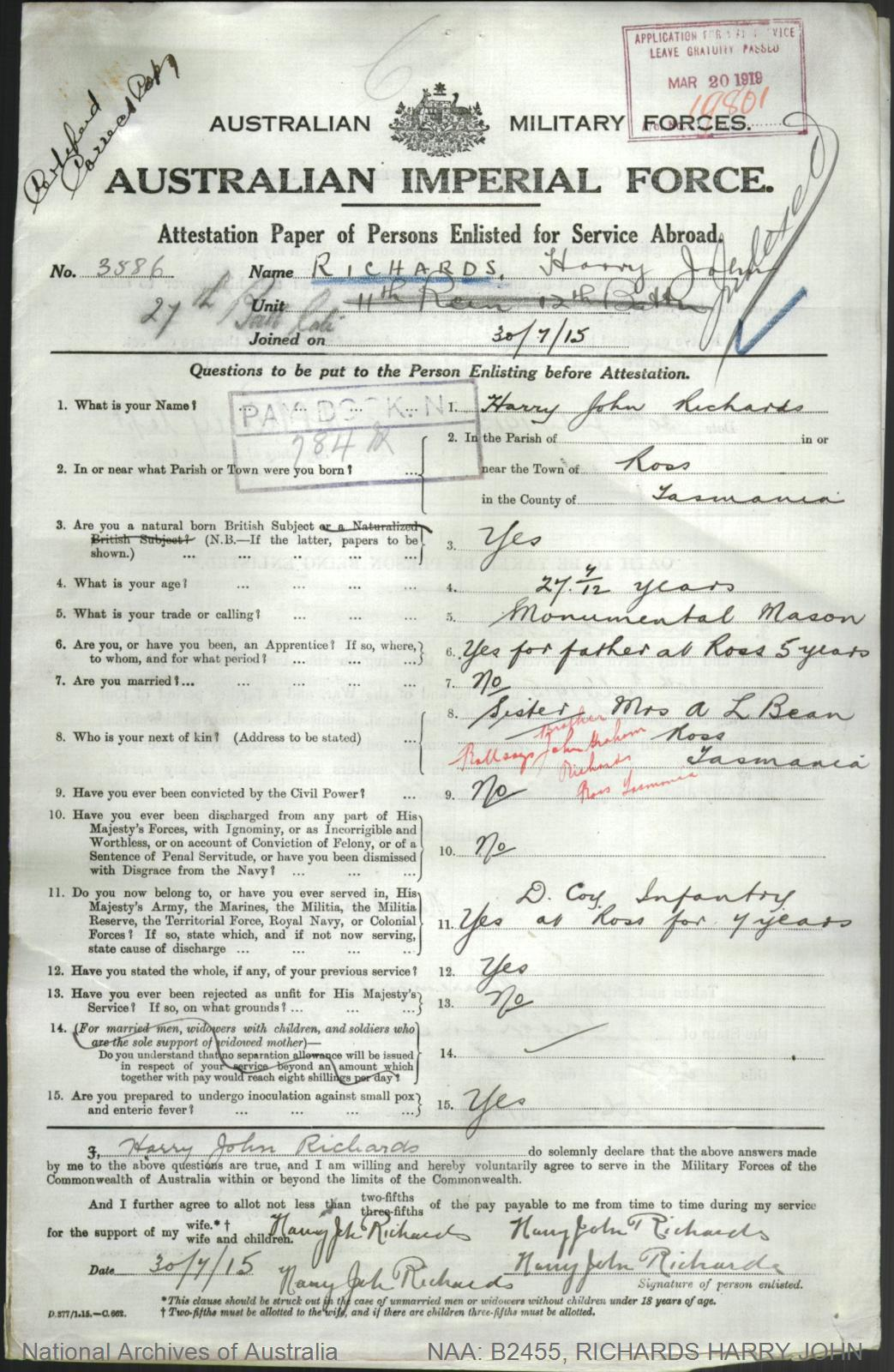 RICHARDS Harry John : Service Number - 3586 : Place of Birth - Ross TAS : Place of Enlistment - Claremont TAS : Next of Kin - (Brother) RICHARDS John Graham