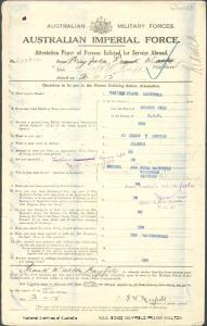 MAYFIELD Frank Walton : Service Number - 6218 : Place of Birth - Broken Hill NSW : Place of Enlistment - Brisbane QLD : Next of Kin - (Mother) MAYFIELD Ada Emma