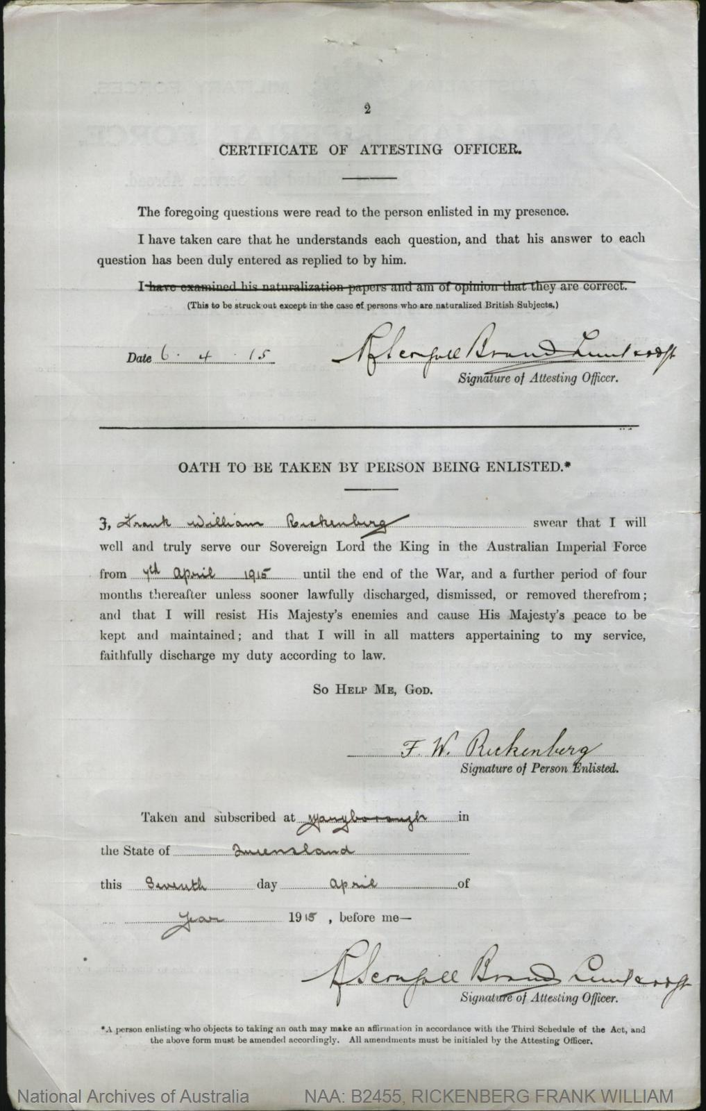 RICKENBERG Frank William : Service Number - 160 : Place of Birth - Maryborough QLD : Place of Enlistment - Maryborough QLD : Next of Kin - (Mother) RICKENBERG M
