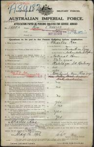 ROE Charles : Service Number - 1900 : Place of Birth - Newcastle Upon Tyne England : Place of Enlistment - Quorn SA : Next of Kin - (Wife) ROE Sarah Ann