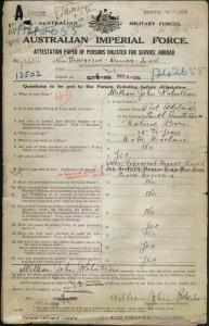 ROBERTSON William John : Service Number - 13502 : Place of Birth - Port Adelaide SA : Place of Enlistment - Adelaide SA : Next of Kin - (Wife) ROBERTSON Harriet Ellen