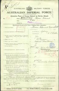MARSHALL Thomas Edward : Service Number - Captain : Place of Birth - Sydney NSW : Place of Enlistment - N/A  : Next of Kin - (Father) MARSHALL James