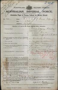 ROWLEY Ernest Fitzroy : Service Number - 843 : Place of Birth - Banstem Staffordshire England : Place of Enlistment - Randwick NSW : Next of Kin - (Father) ROWLEY James