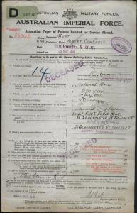 RUST Albert Clarence : Service Number - 62343 : Place of Birth - Armadale NSW : Place of Enlistment - Adelaide SA : Next of Kin - (Wife) RUST Elsie May