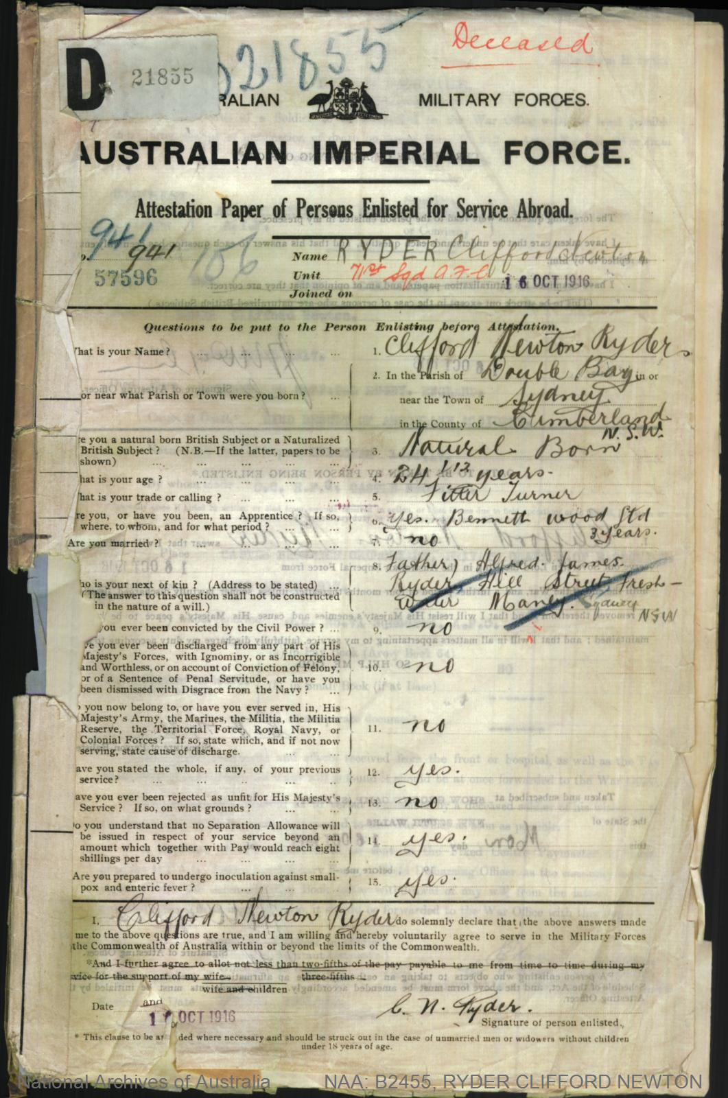 RYDER Clifford Newton : Service Number - 941 : Place of Birth - Sydney NSW : Place of Enlistment - Sydney NSW : Next of Kin - (Father) RYDER Alfred James