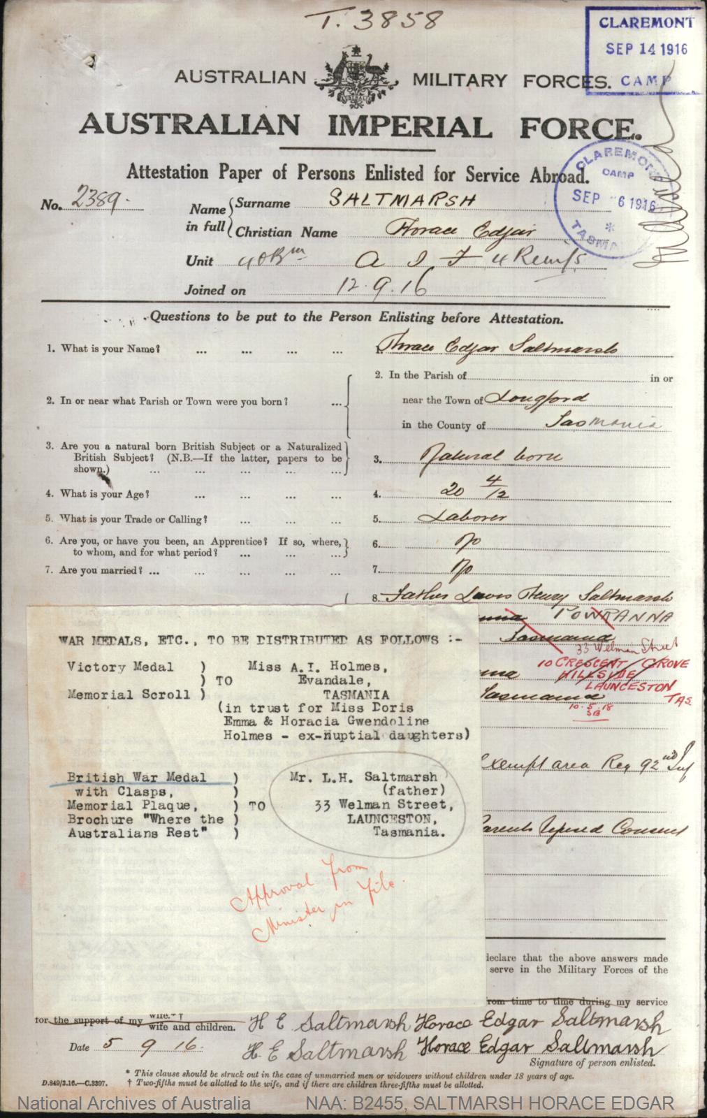 SALTMARSH Horace Edgar : Service Number - 2389 : Place of Birth - Longford TAS : Place of Enlistment - Claremont TAS : Next of Kin - (Father) SALTMARSH Lewis Henry