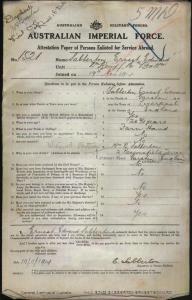 SABBERTON Ernest Edward : Service Number - 1521 : Place of Birth - Liverpool England : Place of Enlistment - Blackboy Hill WA : Next of Kin - (Mother) SABBERTON Mrs B M