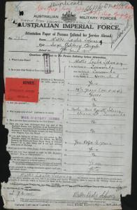 SCHWARZ Walter Leslie : Service Number - 256 : Place of Birth - Toowoomba QLD : Place of Enlistment - Brisbane QLD : Next of Kin - (Mother) SCHWARZ Agusta