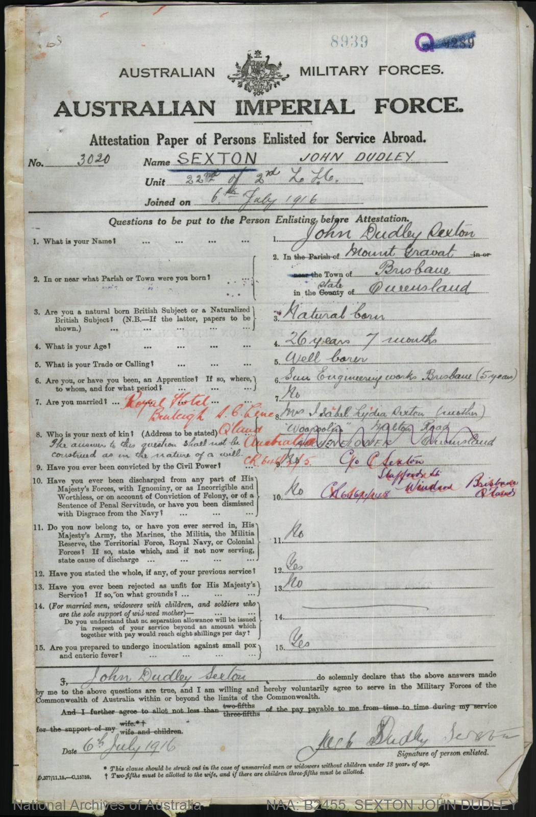 Date of birth search in Brisbane