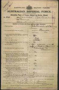 SHANNON John Archibald : Service Number - 1136 : Place of Birth - Benalla VIC : Place of Enlistment - Claremont TAS : Next of Kin - (Wife) SHANNON Gillian