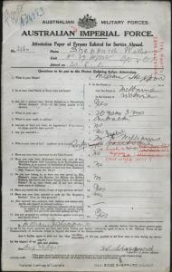 SHEPPARD William : Service Number - 3260 : Place of Birth - Melbourne VIC : Place of Enlistment - Blackboy Hill WA : Next of Kin - (Sister) WILLIAMS Isabel