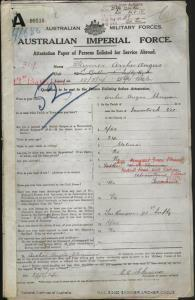 SKINNER Archer Angus : Service Number - 319 : Place of Birth - Inverloch VIC : Place of Enlistment - Brighton TAS : Next of Kin - (Wife) SKINNER Margaret Green