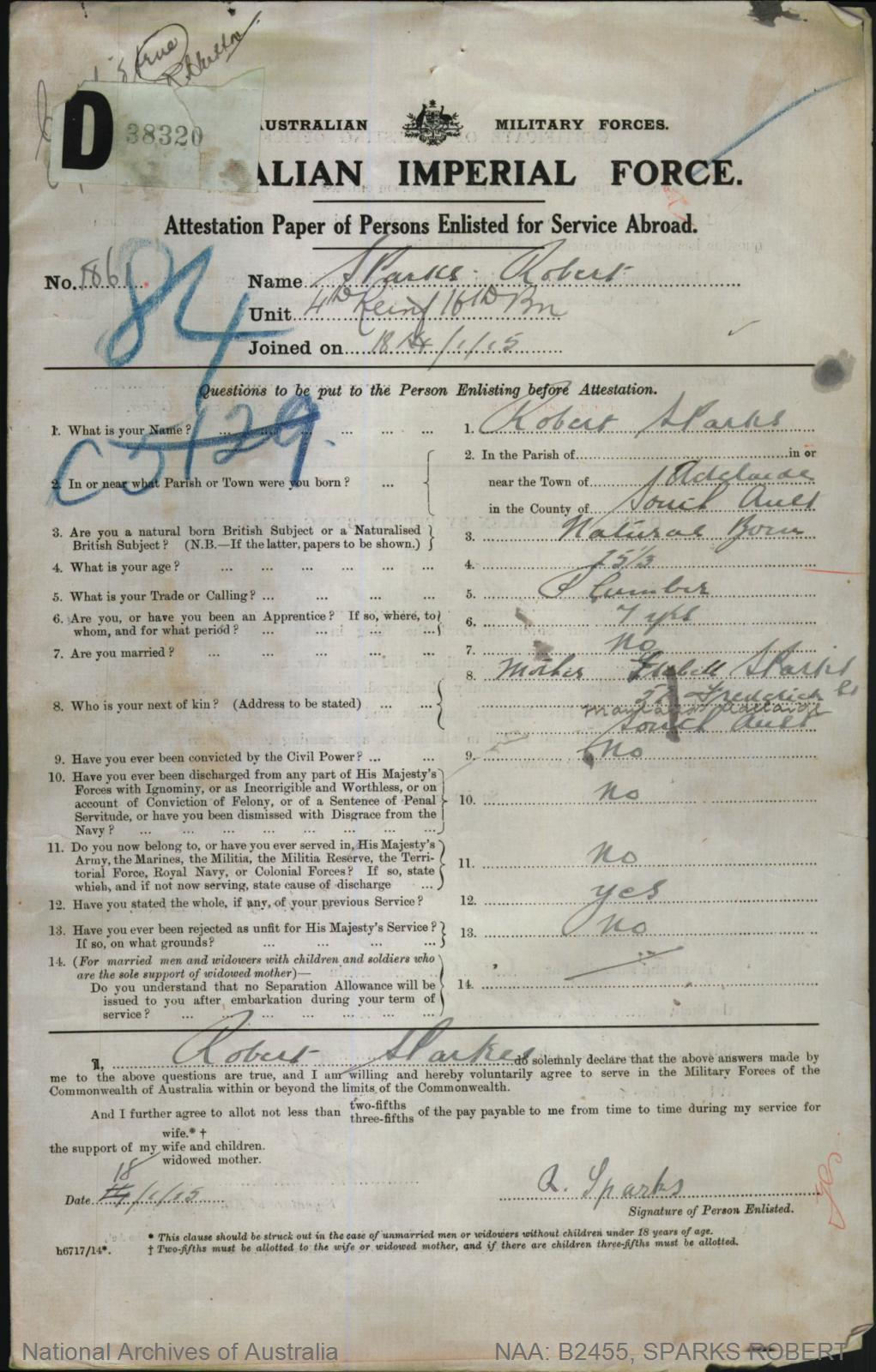 SPARKS Robert : Service Number - 1861 : Place of Birth - Adelaide SA : Place of Enlistment - Perth WA : Next of Kin - (Mother) SPARKS Isebell