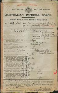 SNELL Henry Irvine : Service Number - 293 : Place of Birth - Norfolk Island NSW : Place of Enlistment - Liverpool NSW : Next of Kin - (Sister) SNELL Lere