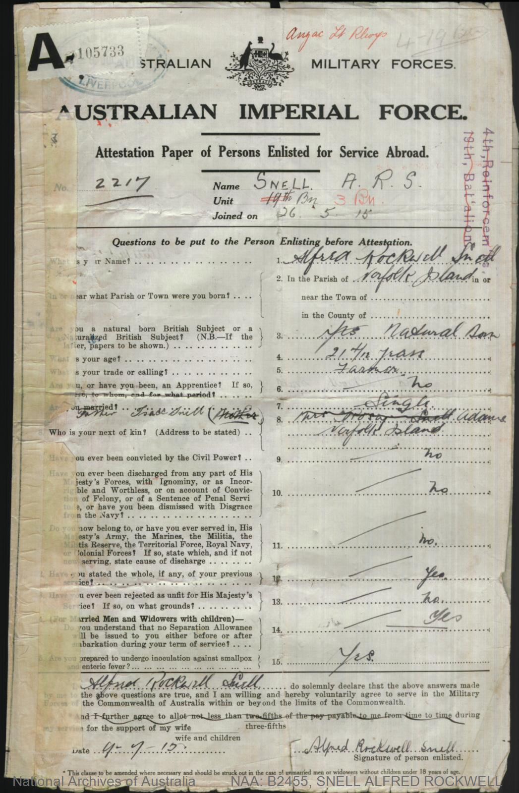 SNELL Alfred Rockwell : Service Number - 2217 : Place of Birth - Norfolk Island NSW : Place of Enlistment - Liverpool NSW : Next of Kin - (Father) SNELL Isaac