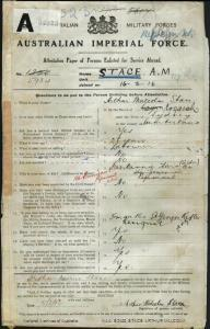 STACE Arthur Malcolm : Service Number - 5934 : Place of Birth - Sydney NSW : Place of Enlistment - Sydney NSW : Next of Kin - (Sister) HARMON Minnie