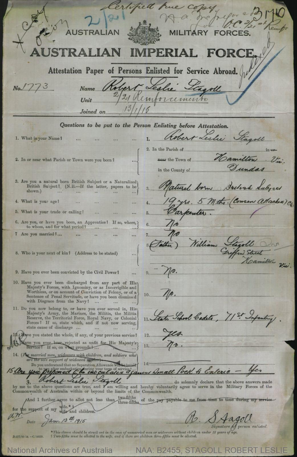 STAGOLL Robert Leslie : Service Number - 1773 : Place of Birth - Hamilton VIC : Place of Enlistment - Hamilton VIC : Next of Kin - (Father) STAGOLL William