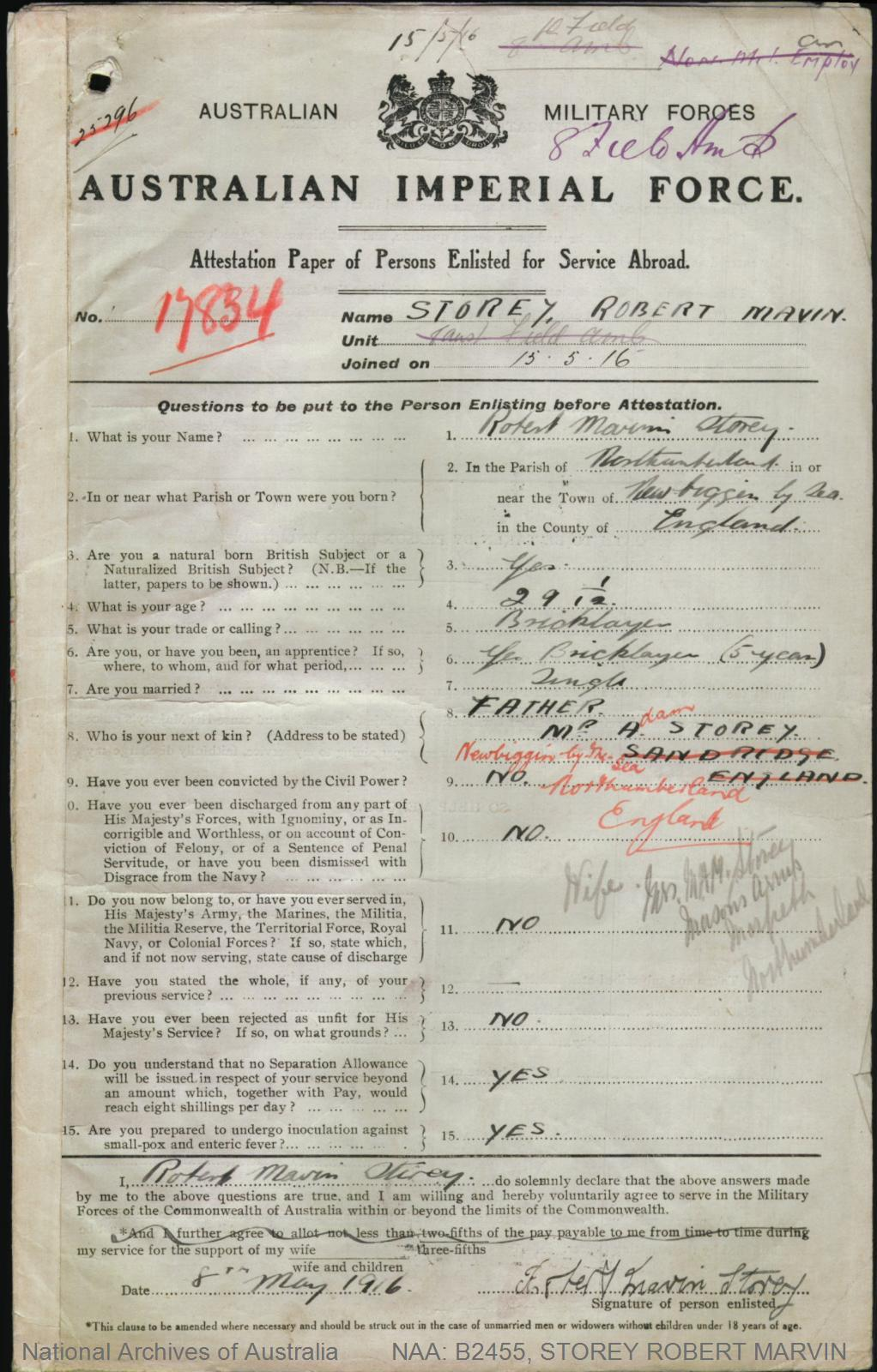 STOREY Robert Marvin : Service Number - 17834 : Place of Birth - Newbiggin By Sea England : Place of Enlistment - Teralba NSW : Next of Kin - (Father) STOREY Adam