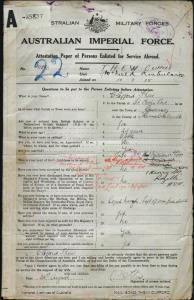 THEW Clifford : Service Number - 11893 : Place of Birth - Guernsey Channel Islands : Place of Enlistment - Holdsworthy (Holsworthy) NSW : Next of Kin - (Wife) THEW Millicent