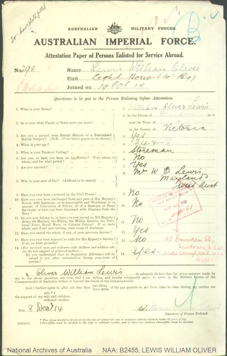 LEWIS William Oliver : Service Number - 298 : Place of Birth