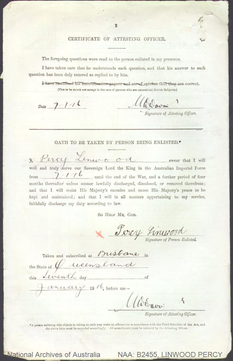 LINWOOD Percy : Service Number - 1676 : Place of Birth - Bundaberg QLD : Place of Enlistment - Brisbane QLD : Next of Kin - (Mother) LINWOOD Anna