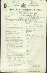 LIPSCOMB Eric John : Service Number - 2348 : Place of Birth - Wahroonga NSW : Place of Enlistment - Narrabri NSW : Next of Kin - (Father) LIPSCOMB William John