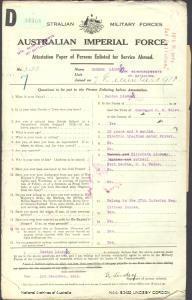 LINDSEY Gordon : Service Number - 5150 : Place of Birth - Gundagai NSW : Place of Enlistment - Port Kembla NSW : Next of Kin - (Mother) LINDSEY Elizabeth
