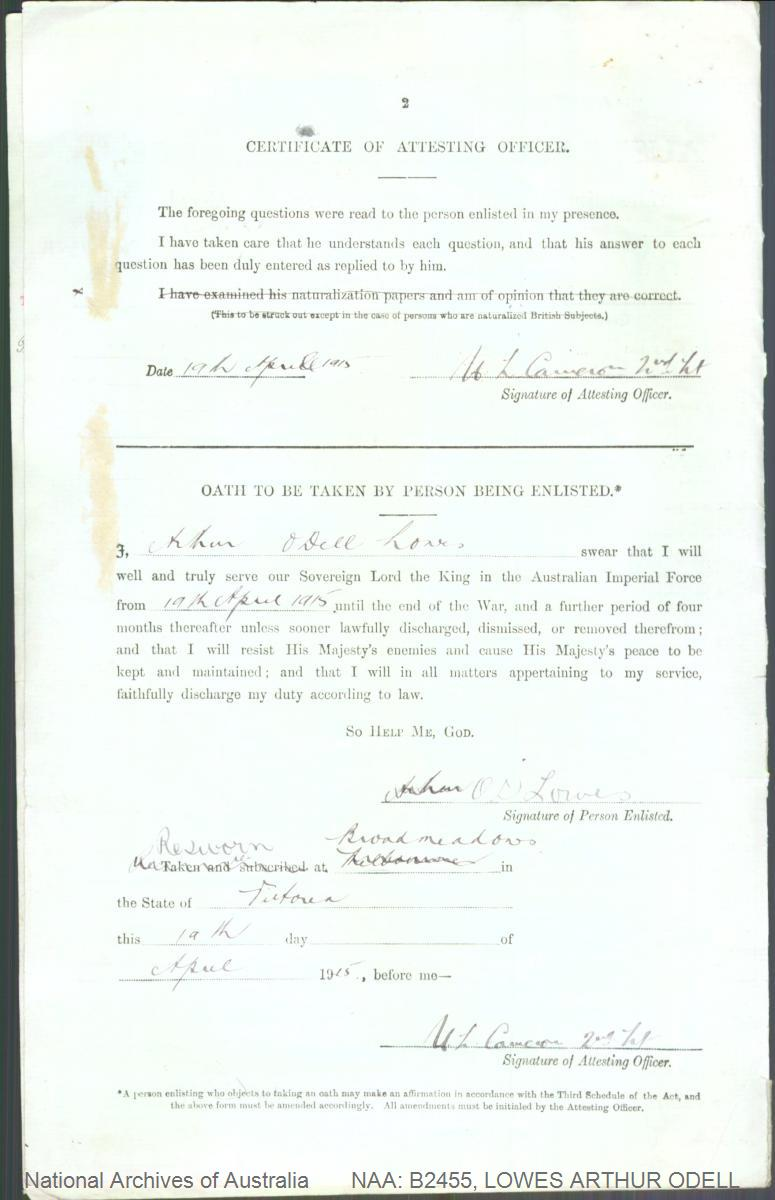 LOWES Arthur Odell : Service Number - 2276 : Place of Birth - Christchurch New Zealand : Place of Enlistment - Broadmeadows VIC : Next of Kin - (Father) LOWES Arthur Alfred