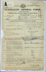 LYSAGHT Fredrick Ernest : Service Number - 2678 : Place of Birth - Cootamundra NSW : Place of Enlistment - Liverpool NSW : Next of Kin - (Wife) LYSAGHT Ivy Gladys