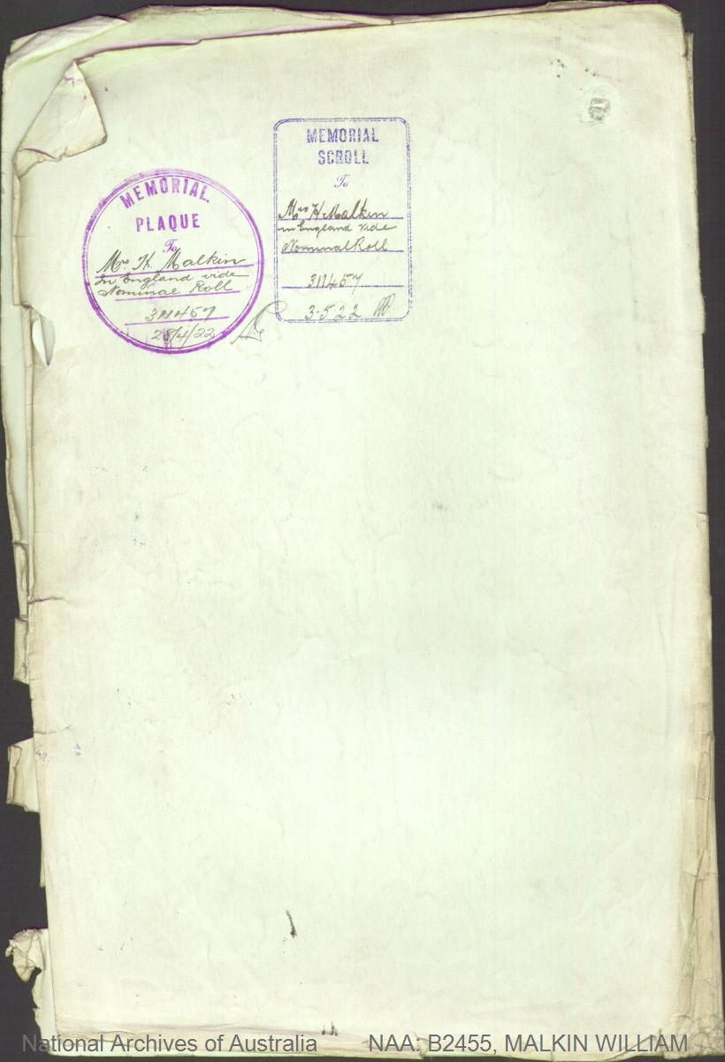 MALKIN William : Service Number - 3884 : Place of Birth - Yorks England : Place of Enlistment - Newcastle NSW : Next of Kin - (Mother) MALKIN Hannah