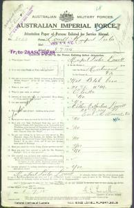 LOWELL Rupert Leslie : Service Number - 8022 : Place of Birth - Richmond VIC : Place of Enlistment - Melbourne VIC : Next of Kin - (Mother) LOWELL Katherluer