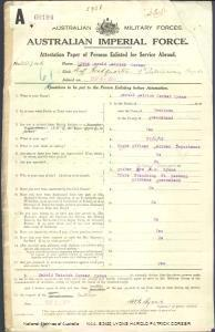 LYONS Harold Patrick Corser : Service Number - 20746 : Place of Birth - Cooktown QLD : Place of Enlistment - Brisbane QLD : Next of Kin - (Mother) LYONS Mary Georgina
