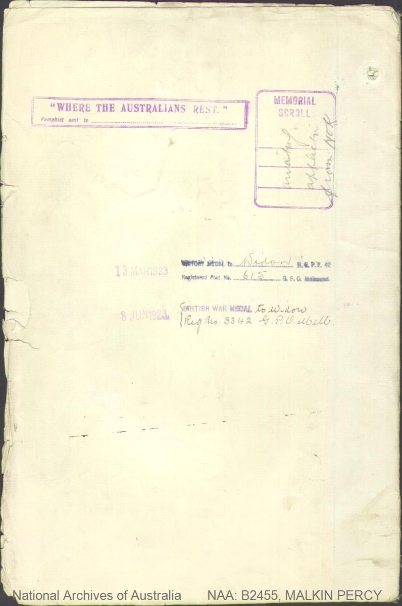 MALKIN Percy : Service Number - 24419 : Place of Birth - Macclesfield England : Place of Enlistment - Geelong VIC : Next of Kin - (Wife) MALKIN Claire Vera