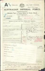 MARSHALL Arthur Roy : Service Number - 6783 : Place of Birth - Sydney NSW : Place of Enlistment - Sydney NSW : Next of Kin - (Mother) MARSHALL Elizabeth